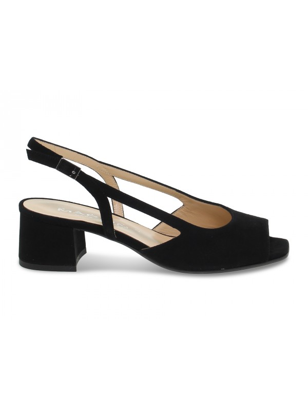 Flat sandals Martina in black suede leather