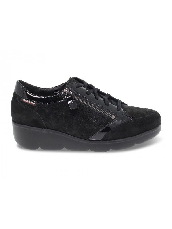 Flat shoe Mephisto GLADICE MOBILS ERGONOMIC in black suede leather