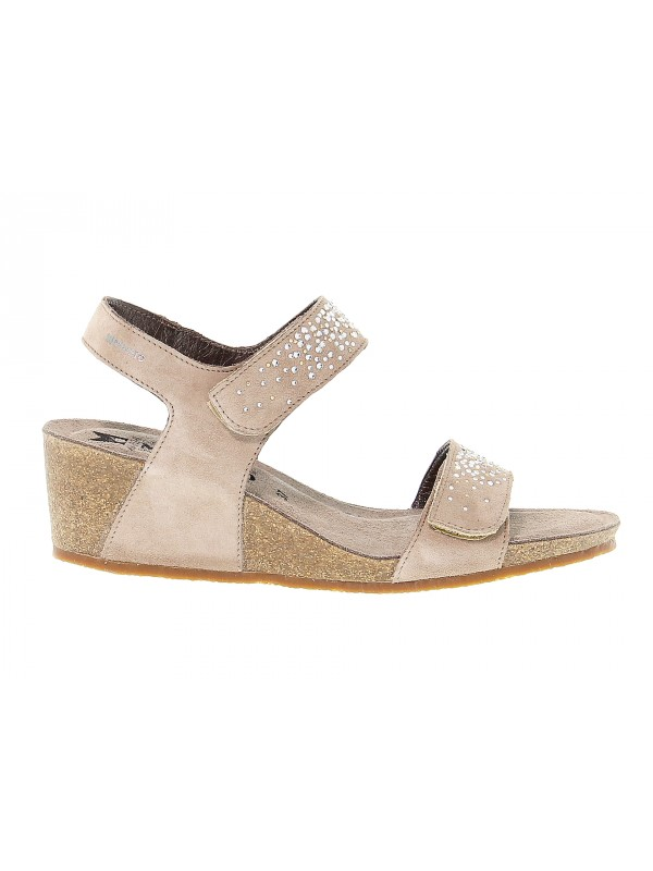 Heeled sandal Mephisto MARIA SPARK in taupe suede leather