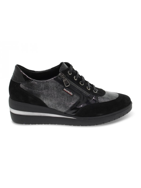 Flat shoe Mephisto PATRIZIA MOBILS ERGONOMIC in black suede leather