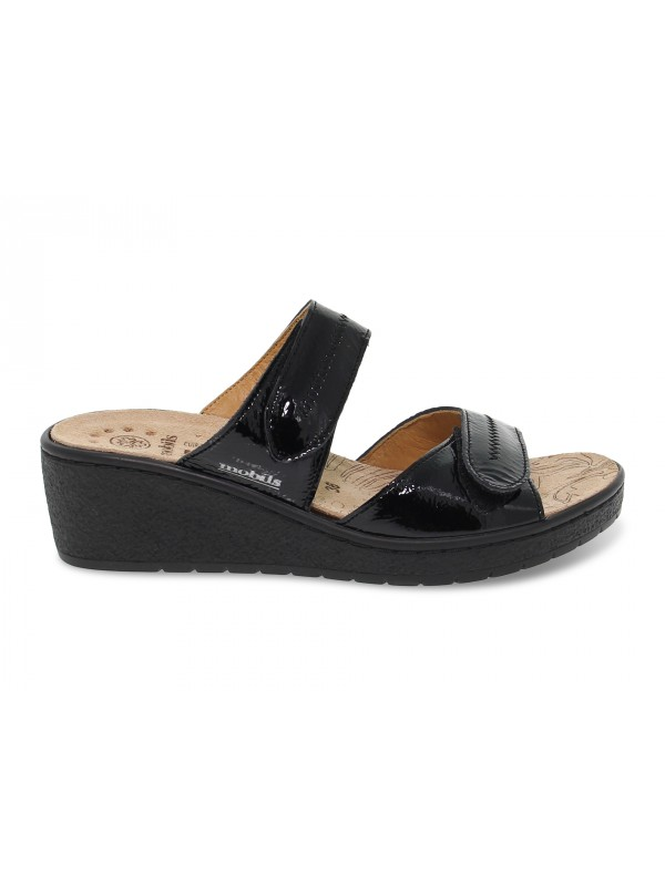 Flat sandals Mephisto PAULA VERNIS FRIPE MOBILS ERGONOMIC in black paint