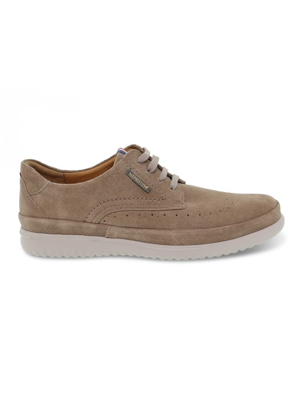 Lace-up shoes Mephisto THIBAULT in taupe suede leather