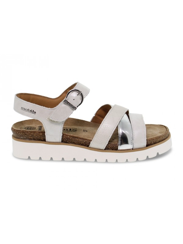 Flat sandals Mephisto THINA PE MOBILS ERGONOMIC in white pearled
