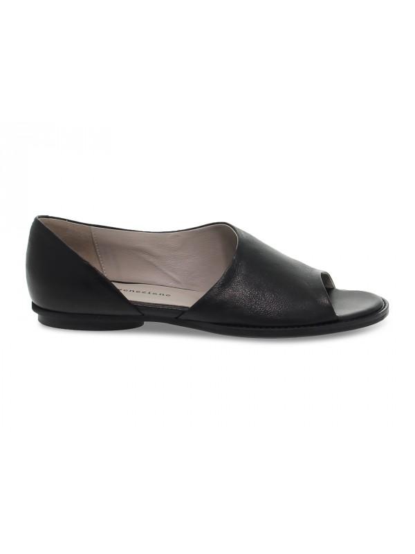 Flat shoe Poesie Veneziane in black leather