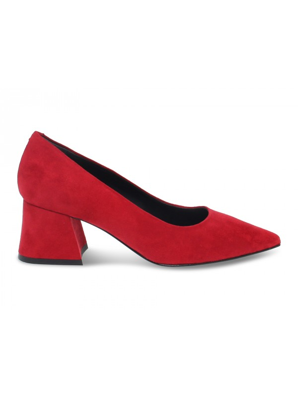 Pump Pollini in red suede leather