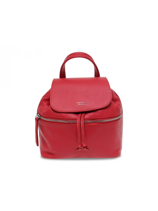 Backpack Tosca Blu RANUNCOLO ZAINO in red leather