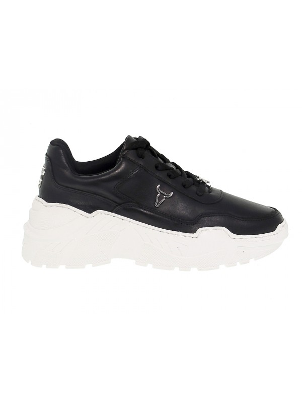 Sneakers Windsor Smith CARTE BRAVE BLACK WHITE in black leather