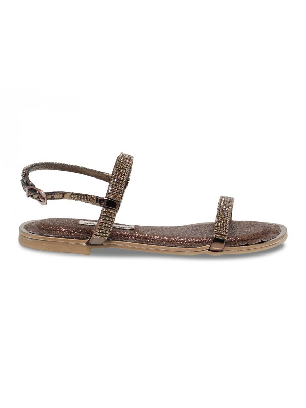 Sandales plates Alberto Venturini FLAT en cristal bronze