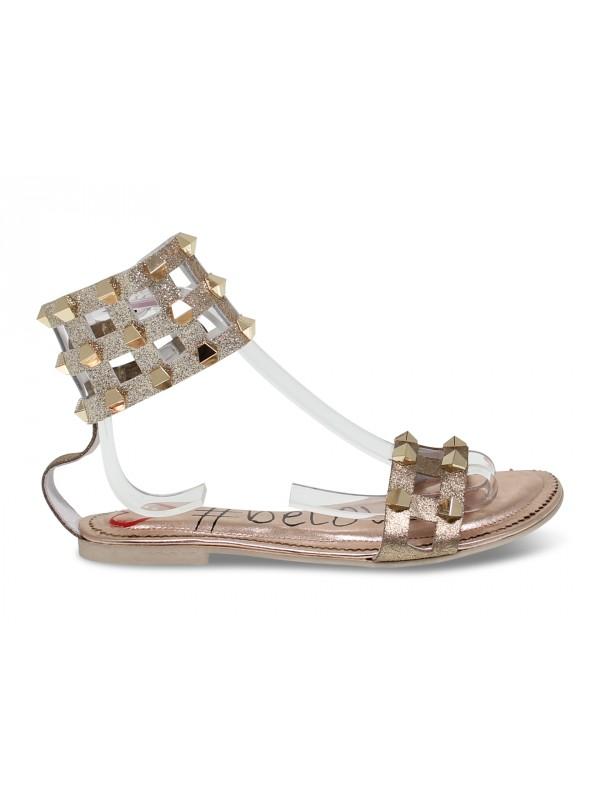 Sandales plates Alberto Venturini FLAT GLADIATORE en stratifié cuivre