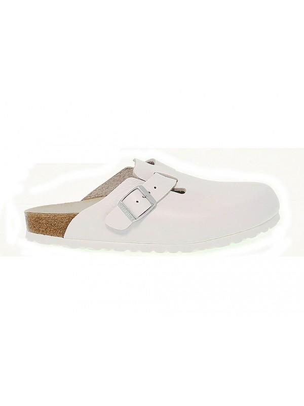 Sandales Birkenstock BOSTON en cuir blanc