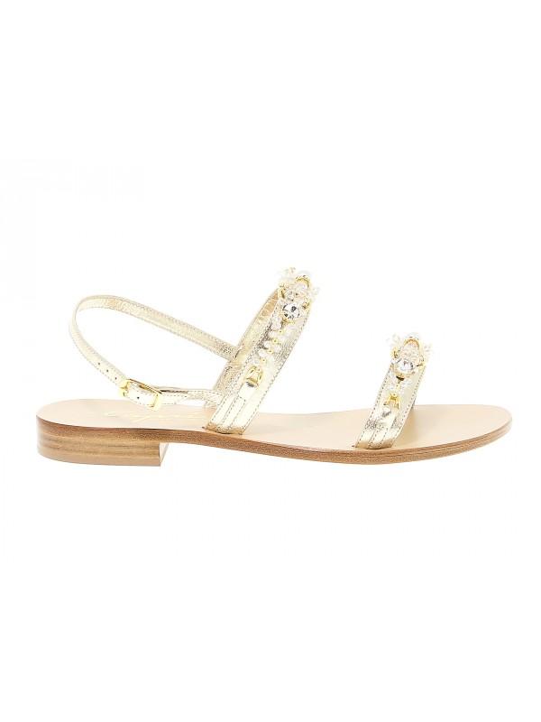 Sandales plates en peau Capri
