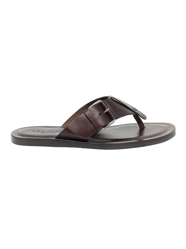 Sandales Leo Pucci en cuir brun foncé