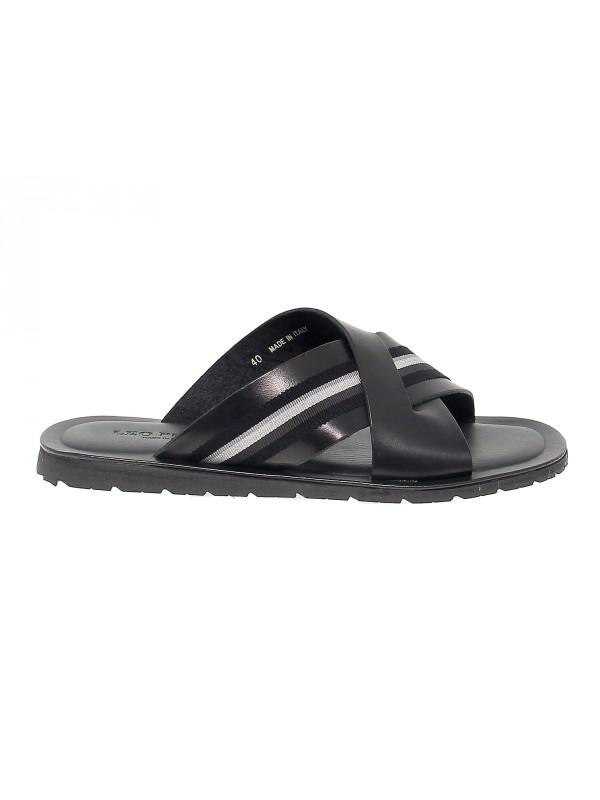 Sandales Leo Pucci en cuir noir