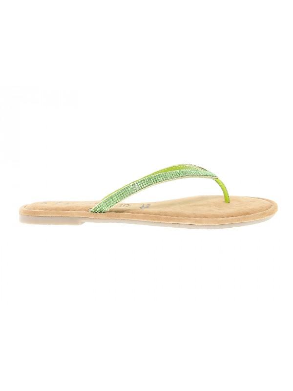 Sandales plates en peau Tamaris
