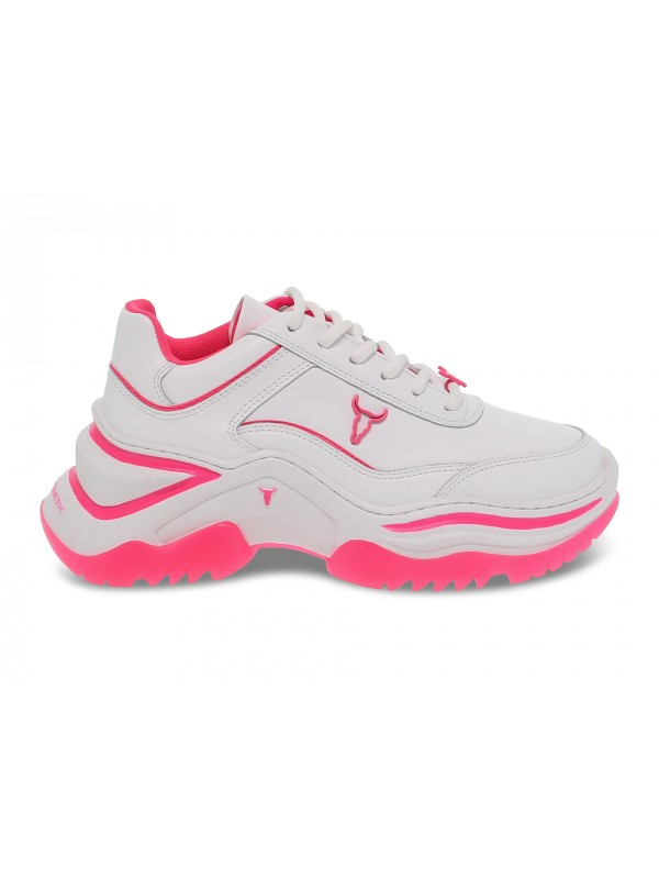 Baskets Windsor Smith CHAOS BRAVE WHITE NEON PINK en cuir blanc