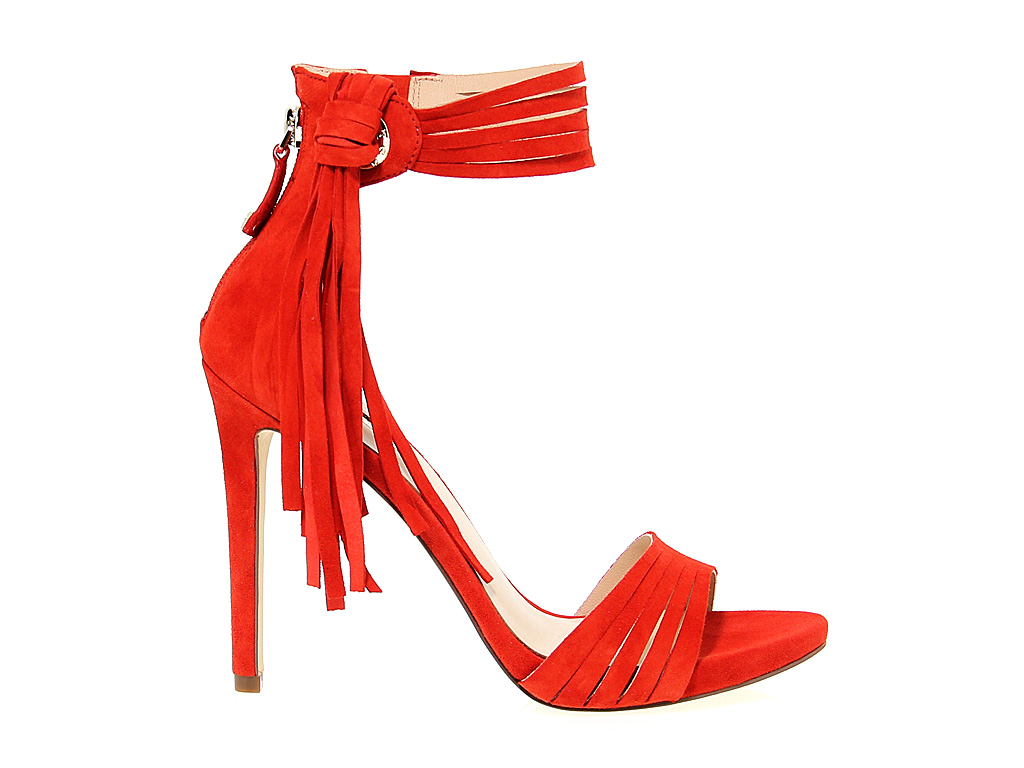 new product d39a2 a929f Dettagli su Sandalo con tacco GUESS FLAID2 R in camoscio rosso - Scarpe  Donna
