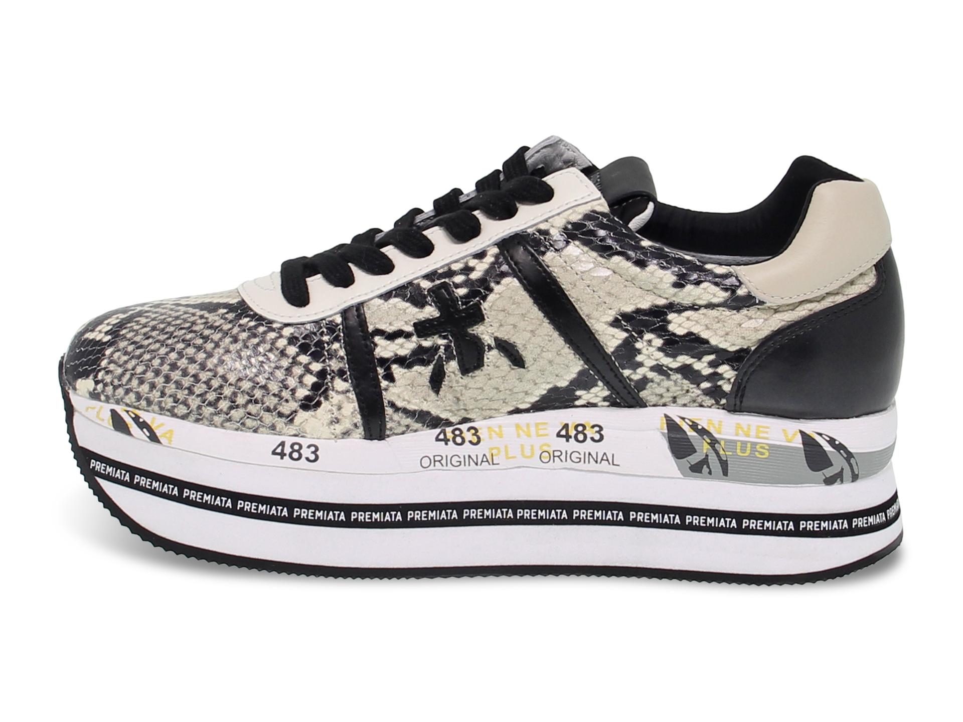 Dettagli su Sneakers Premiata 4116 in pitonato vernice roccia bianco Scarpe Donna
